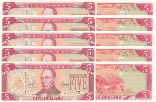 LOT, Liberia 5 Dollars (2003) p26a x 5 PCS UNC