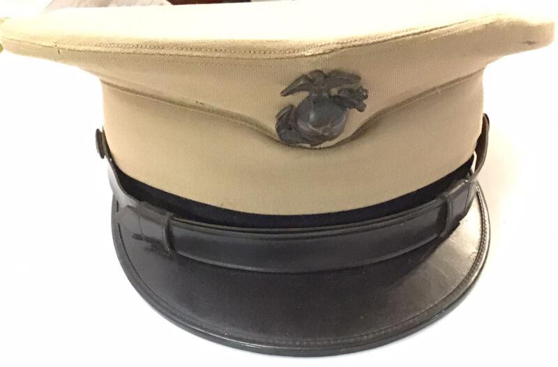 Vintage US Marine Corp Khaki Visor Hat USMC