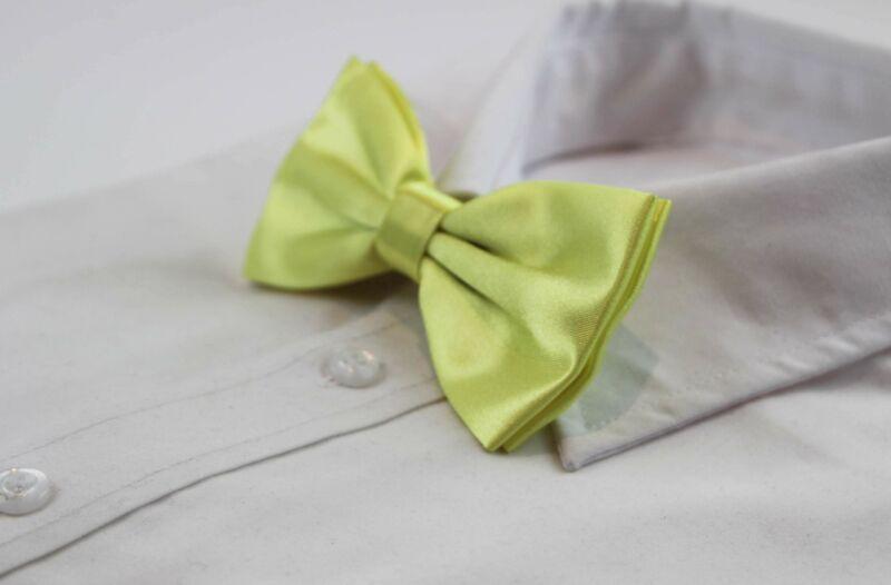 Mens Lime Solid Plain Colour Bow Tie