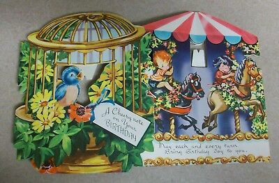 Vintage Merry Go Round & Bird in Cage 3D Free Standing Birthday Card Lot Unused