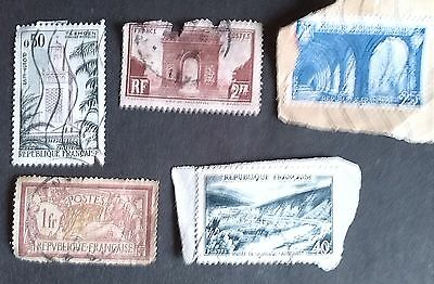 French Stamps - 1fr, 40f, 2fr, 25f, 50