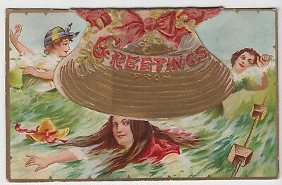 Bathing Beauties Seaside Antique Novelty Postcard with Liftable Clamshell Hat
