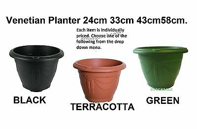 VENETIAN PLASTIC ROUND PLANTER POT TERRACOTTA-GREEN, BLACK  24cm,33cm,43cm,58cm