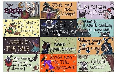 Witch Wall Door Hanging Signs Plaques Halloween Birthday Valentines Pagan Gift (Pagan Holiday Halloween)