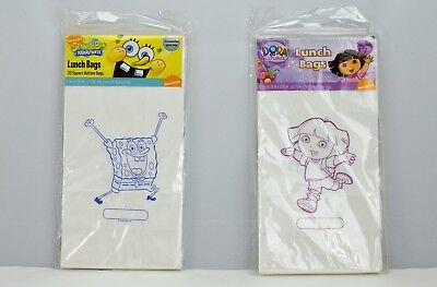 Spongebob Squarepants Dora The Explorer Lunchbags 20 Pack White Paper Sealed - Spongebob Squarepants The Paper