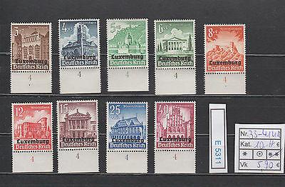 (E5311) Luxemburg Nr.33-41** mit einheitlichen Unterrand