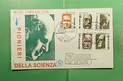 DR WHO 1982 SAN MARINO FDC PIONEERS OF SCIENCE PORTRAIT CACHET COMBO  g14159