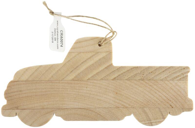 """Craft Decor Wood Ornament W/Twine 12/Pkg-Truck 5.25""""X2.5""""X.375"""""""