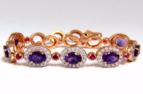 6.46ct Natural Amethyst Ruby Diamonds Halo Bracelet 14kt.