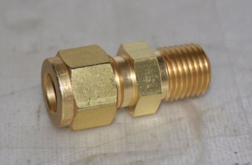 "3/8 Tube x 1/4"" NPT  Brass Male Connector Fitting  Swagelok B-600-1-4"