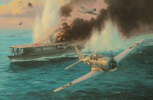 Midway,The Attack on the Sōryū by Anthony Saunders signed by Pacific veterans