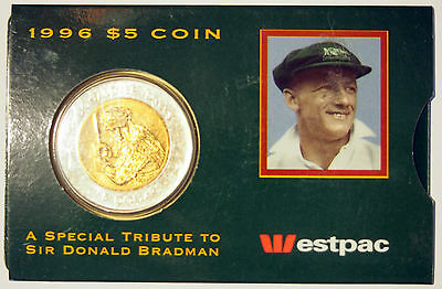 1996    5 Coin   Sir Donald Bradman Tribute   In Westpac Bank Sleeve   Australia