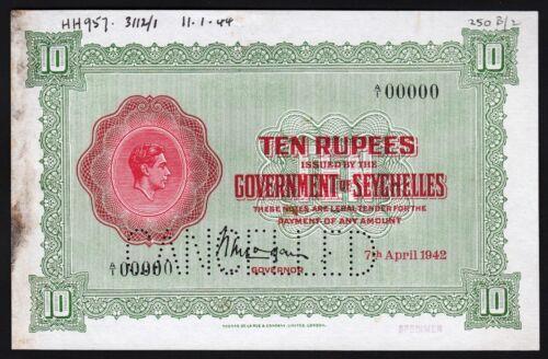 Seychelles 10 Rupees, 1942, SPECIMEN PROOF, AU/ UNC, P.9sp, A1 00000, Watermark