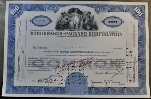 STOCK CERTIFICATE: STUDEBAKER-PACKARD COPORATION 100 Shares 1950s(Cancelled)