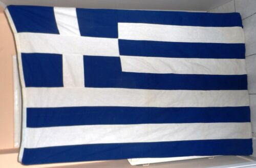 VINTAGE HUGE OLD GREEK GREECE COTTON FLAG 186X120 cm FREE intl SHIP