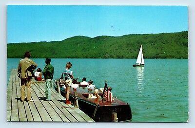 Lake George, NY - RARE ADIRONDACKS PC - SILVER BAY LAKE GEORGE - WOOD BOAT - B1