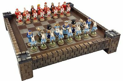 "Alice in Wonderland Fantasy Chess Set W/ 17"" Castle / Fortress Board"