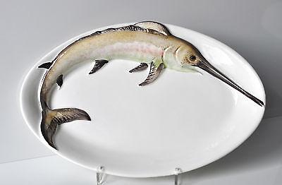 BASSANO KERAMIK  Fischplatte / Teller oval  32 cm SCHWERTFISCH Relief handbemalt ()