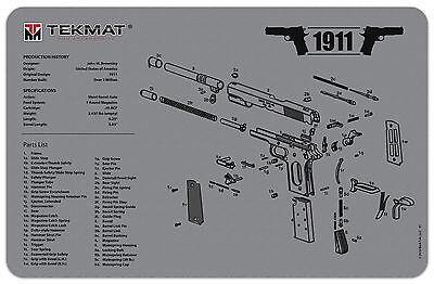 1911 Grey Armorers Gun Cleaning Bench Mat Full Parts List Tek-Mat