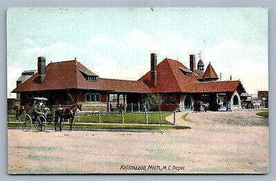 KALAMAZOO MI RAILROAD DEPOT ANTIQUE POSTCARD railway train station for sale  New Hope