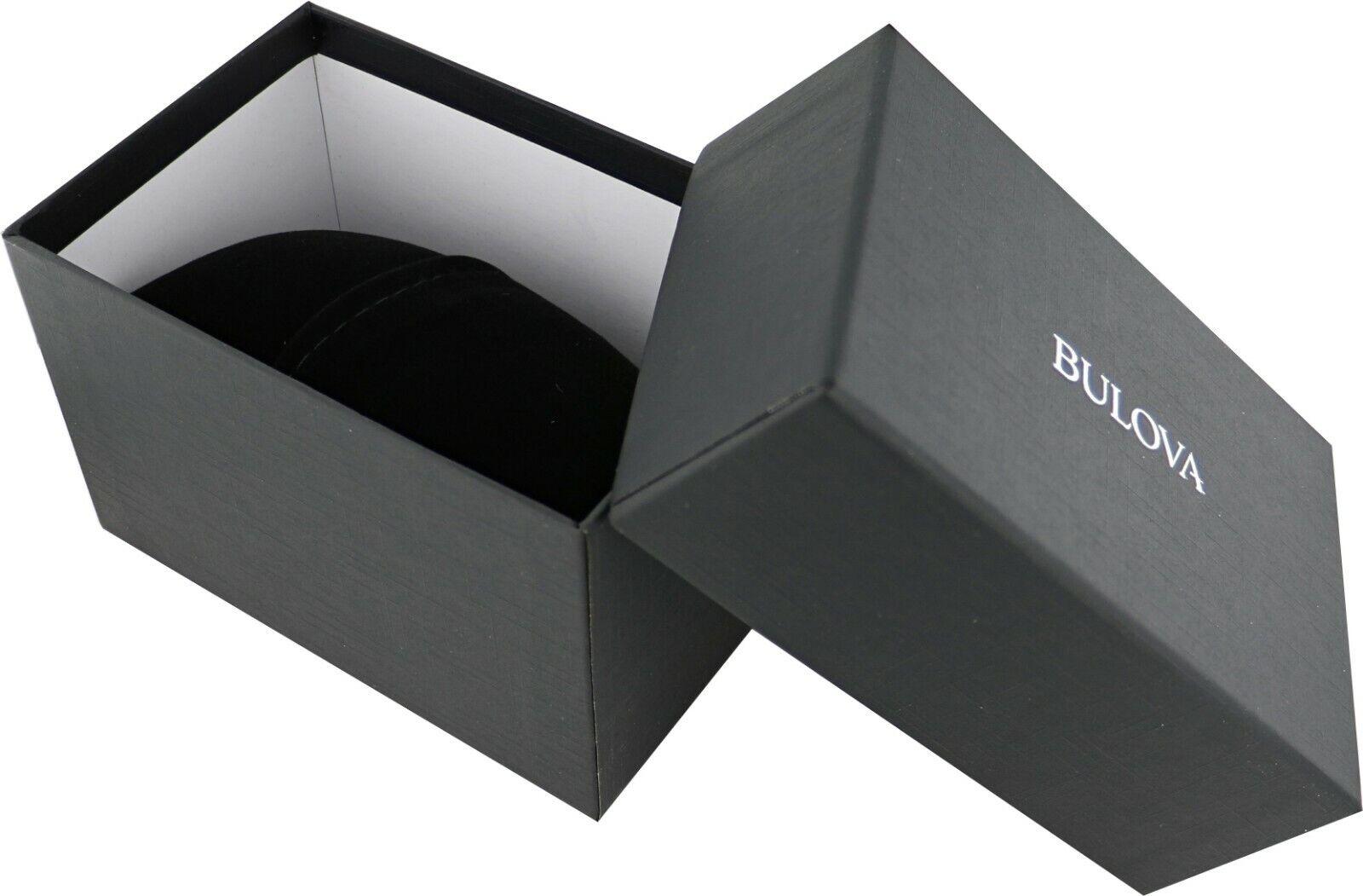 Bulova Men's Quartz Gold Tone Case Brown Leather Strap 37mm Watch 97B100