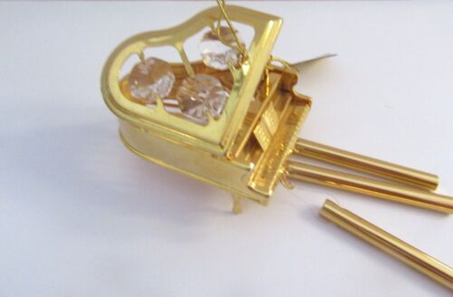 Wind Chime- PIANO- Austrian Crystals- 24K gold plated -clear crystals