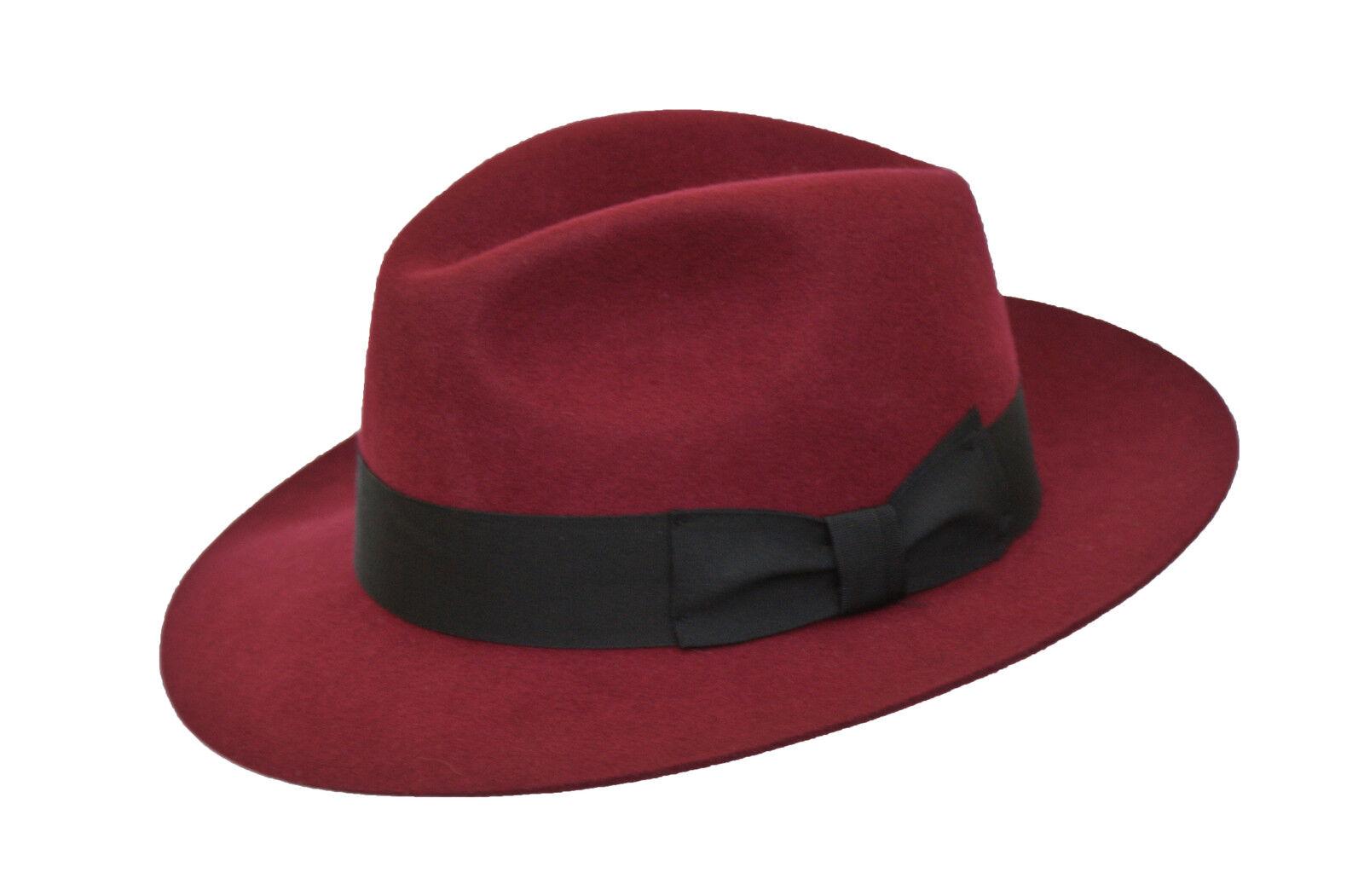 a4972a129747 Detalles de Hombre Granate 100% Lana Hecho a Mano Ancho Borde Fieltro  Sombrero de Gorro con