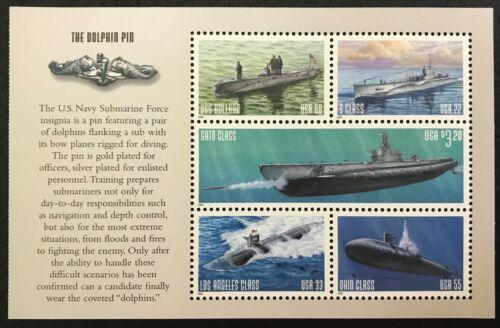 2000 - Scott #3373-77 - U.S. NAVY SUBMARINES - Full Pane of 5 Stamps, MINT NH