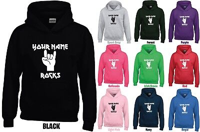Personalised ROCKS Kids/Childrens Hoodie GD57B-Any Name Jumper-ROCK N ROLL METAL