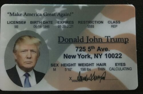 Donald Trump President novelty Drivers License ID MAGA Make America Great Again