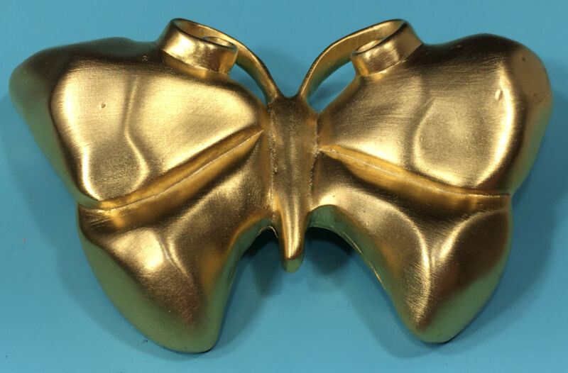 RARE Vintage Signed Givency Goldtone Butterfly Pin Brooch Matte Runway