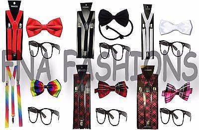 Geek Nerd Schoolgirl Schoolboy School Bow Tie Braces & Glasses Kit Fancy Dress