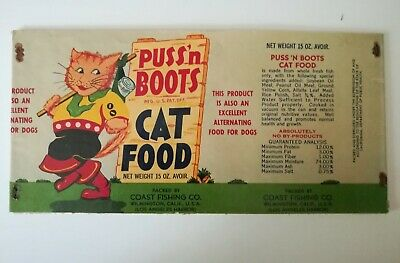 Vintage 1940s Puss'n Boots cat food label-mailed to School Teacher