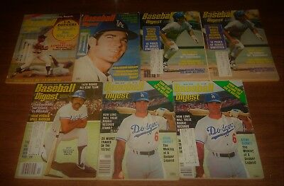 Lot of 7 Baseball Digest Magazines 1970s Los Angeles Dodgers Steve Garvey Smith