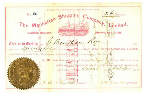 Manhattan Shipping Company, Limited. Stock Certificate.