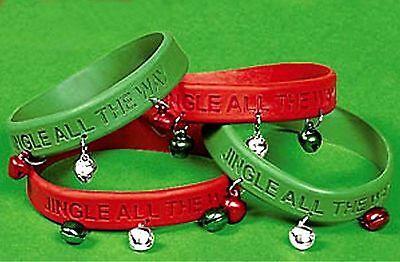 Wholesale lot 60 Red Green JINGLE BELLS Rubber Bracelets Christmas Party Favors