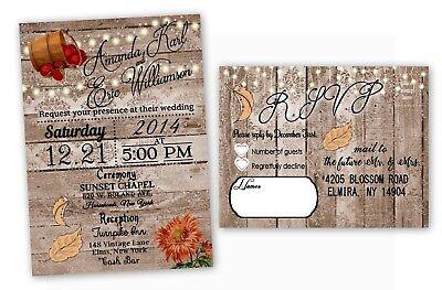Fall Wedding Invitations Rustic Farm Autumn Bridal Shower October Barrel USA](Wedding Invitations Rustic)