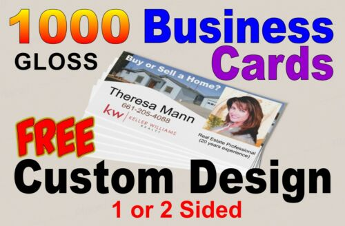 1000 Full Color Gloss Business Cards FREE professional custom design One Sided