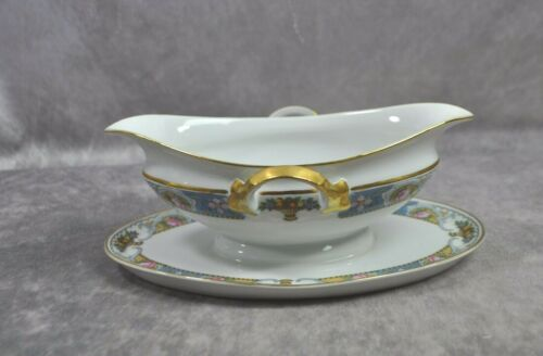 Crown Imperial Czechoslovakia, ROSARI Pattern Gravy Boat Attached Plate