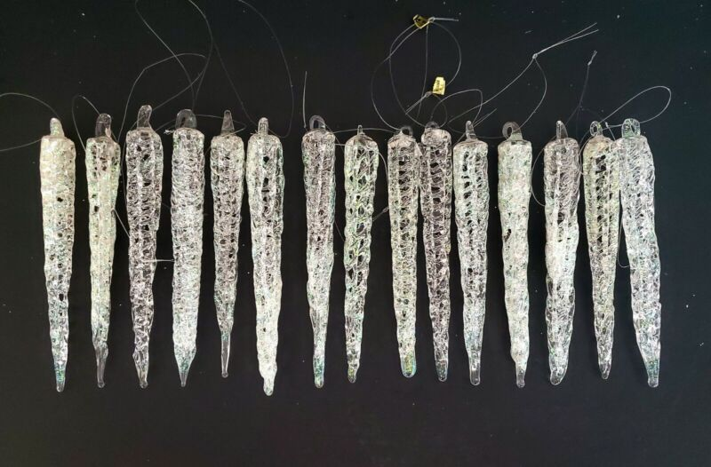 15 Vintage Clear Web Spun Blown Glass Icicles Christmas Silvestri Ornaments