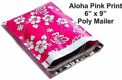(5) PINK HAWAIIAN PRINT 6 x 9 Flat Poly Mailers Shipping Package Envelopes Bags