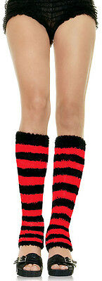 RED Fuzzy Striped Leg Warmers by Leg Avenue Womens One Size Sexy Knee High
