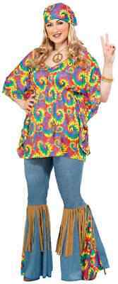 Hippie Chick 60's Generation Woodstock Fancy Dress Halloween Plus Adult Costume