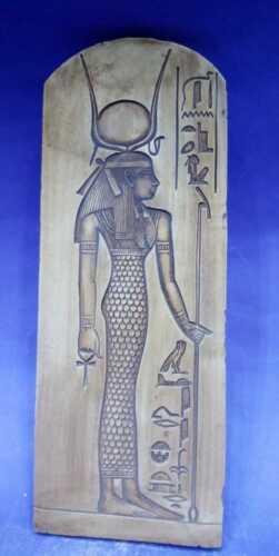 Ancient Egyptian Antiques Stela Relif Goddess Hathor Plaque Hieroglyphic 1809 BC