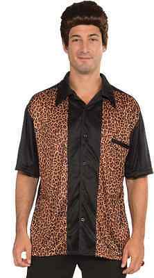 Bowling Shirt Retro Rock 50's Leopard Fancy Dress Up Halloween Costume Accessory