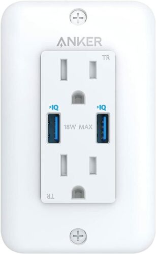 Anker Dual USB Wall Outlets Socket Power Charger w/ Plate 18W USB Charging ETL