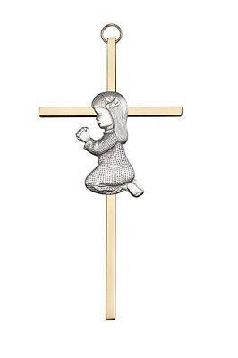 Praying Girl Wall Gold Cross Gift Baptism Christening Dedication First -
