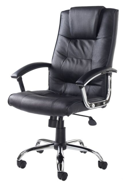 Quality Black Upholstered Luxury Real Leather Executive / Managers Office Chair