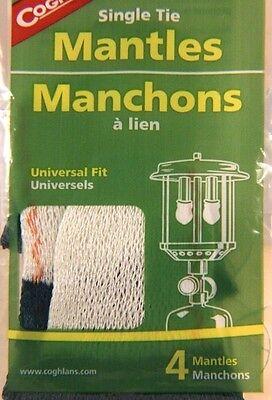 4 PACK SINGLE TIE MANTLES, UNIVERSAL FIT FOR 1-2 MANTLE LIQUID/PROPANE LANTERNS