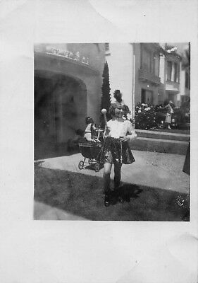 VTG Photo HALLOWEEN COSTUME GIRL DRUM MAJORETTE DRESSED UP DOG in BABY CARRIAGE](Dogs Dressed In Halloween Costumes)